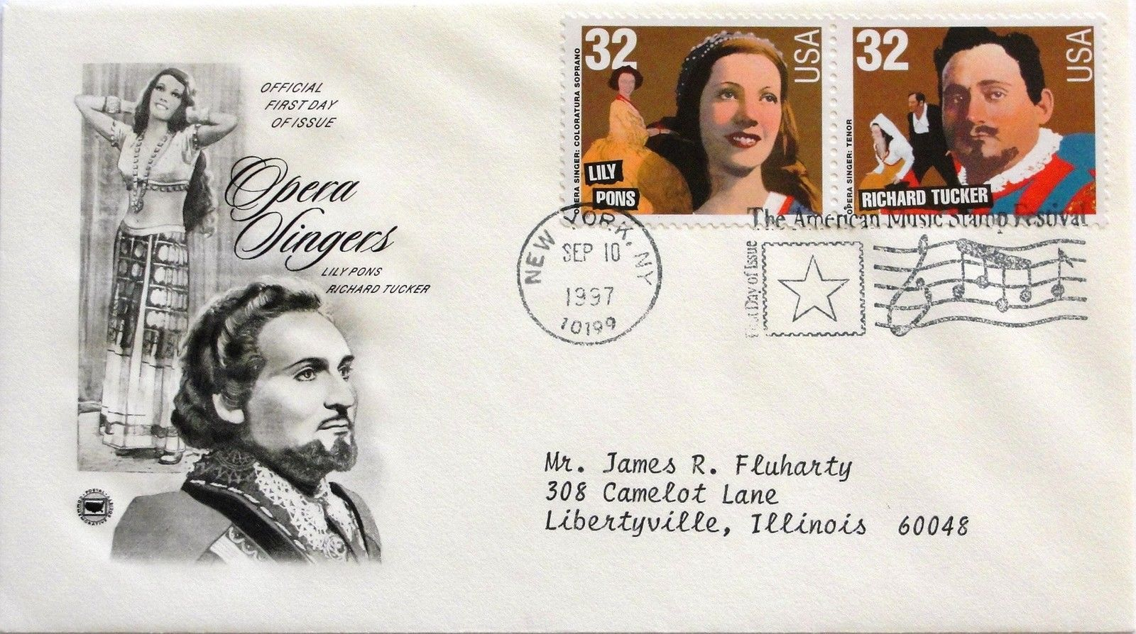 Sept. 10, 1997 First Day of Issue, PC Society Covers, Opera-Pons/Tucker #39