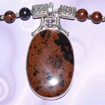 Sterling Silver Mahogany Obsidian and Amethyst Necklace