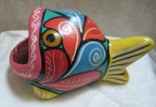 Vintage 1960's Mod Flower Power Art Pottery Fish - Handpaint