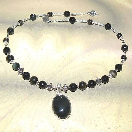 Sterling Silver Rainbow Obsidian Necklace