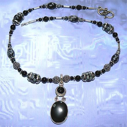 Silver Snowflake Obsidian and Black Onyx Necklace