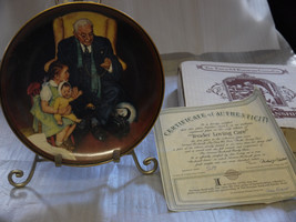 NORMAN ROCKWELL TENDER LOVING CARE PLATE 1ST ISSUE 1988 with COA & box - $14.84