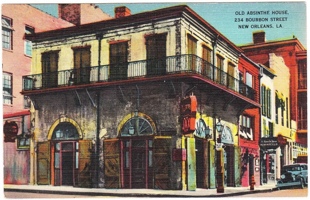 Vintage linen postcard old absinthe house bourbon street new orleans la