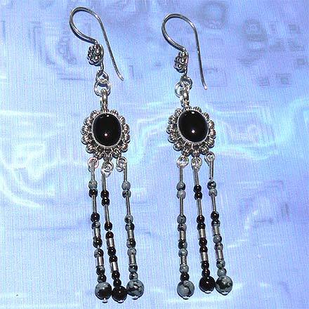 Silver Snowflake Obsidian and Black Onyx Earrings