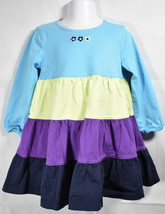 Girls BOUTIQUE HANNA ANDERSSON BLUE GREEN PURPLE L/S TWIRL DRESS Sz 90 3T - $18.80