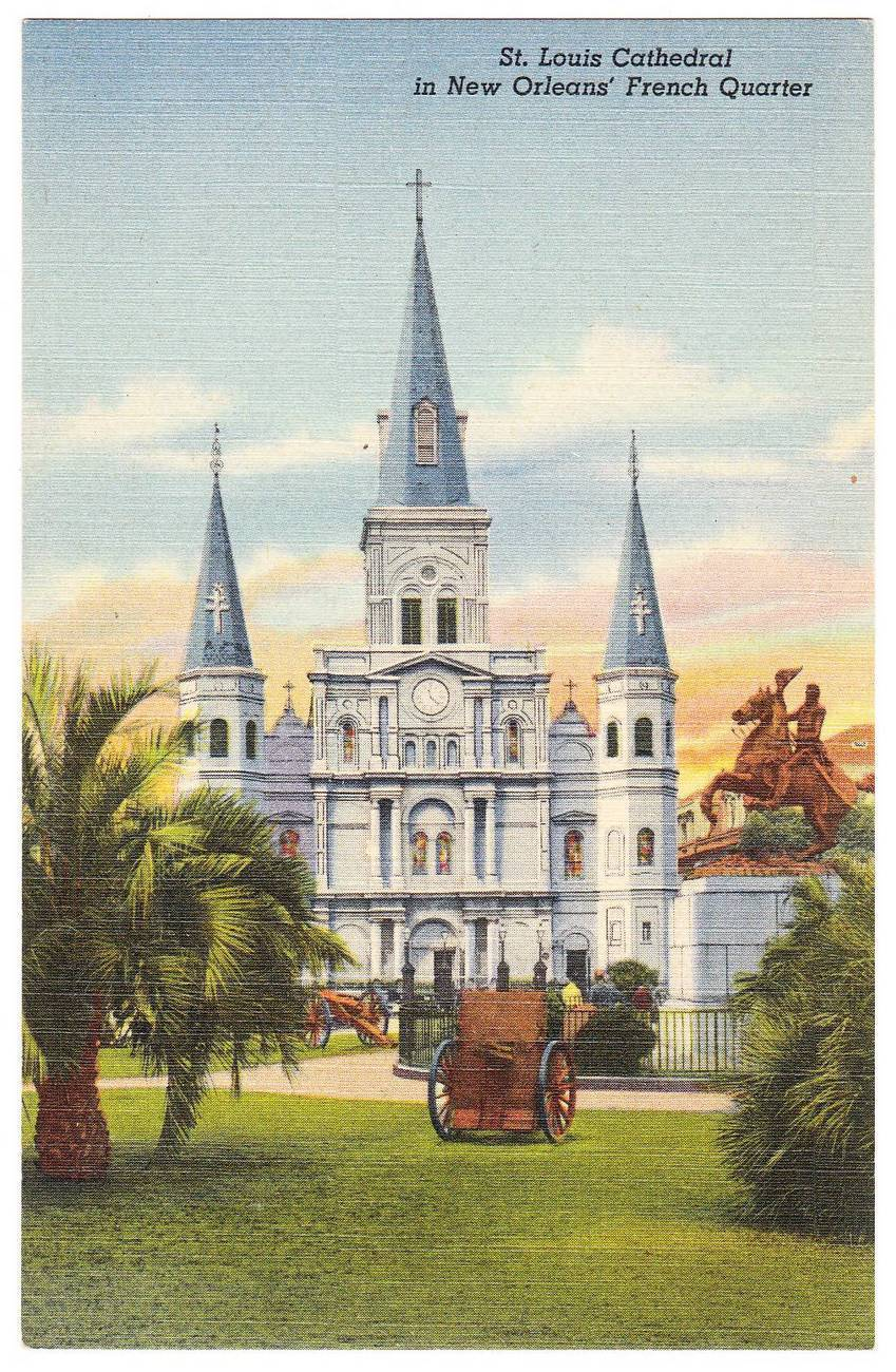 Vintage linen postcard st louis cathedral french quarter new orleans la