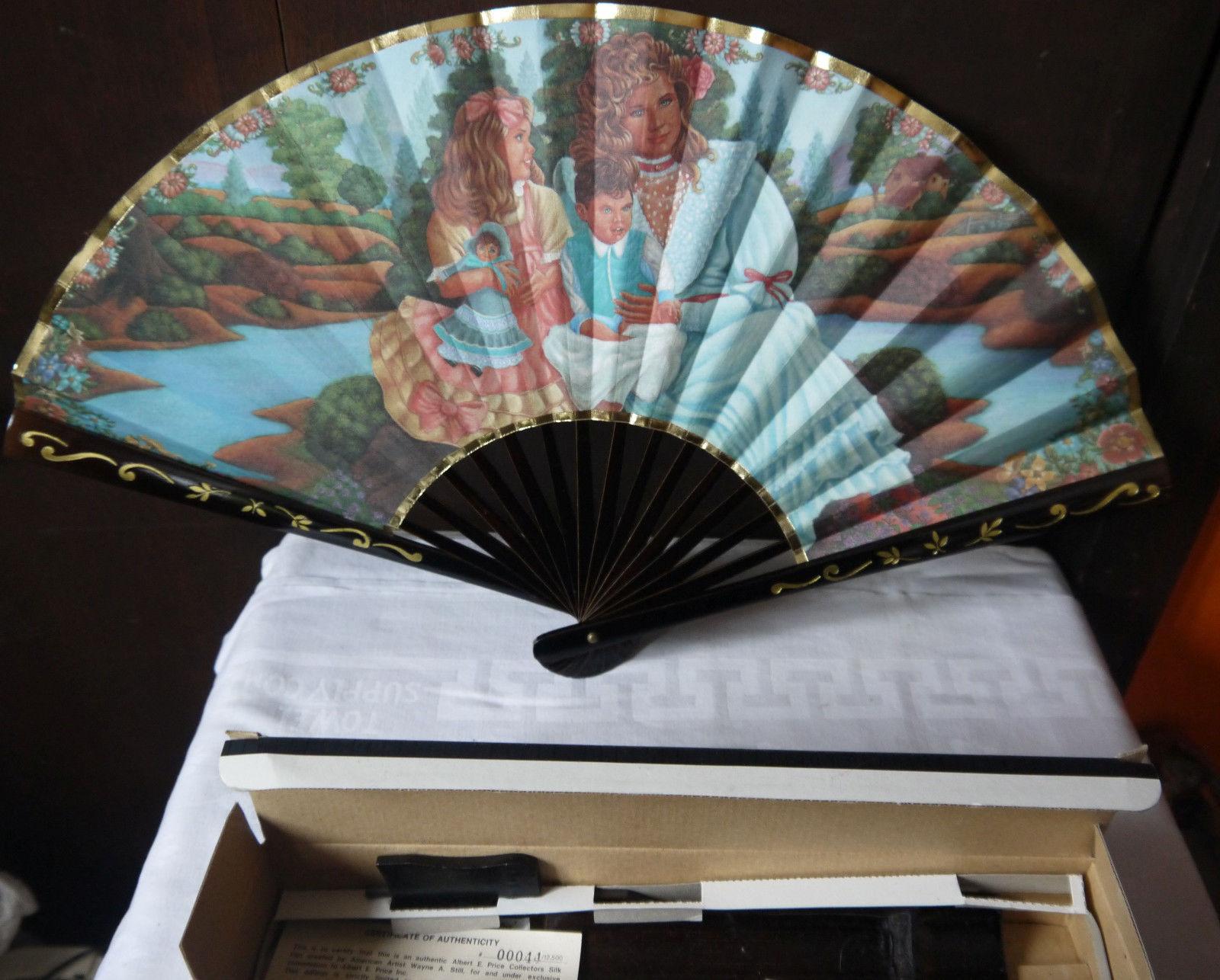 HAND HELD Silk fan albert price CREATED BY AMERICAN ARTIST WAYNE A. STILL collec - $11.87