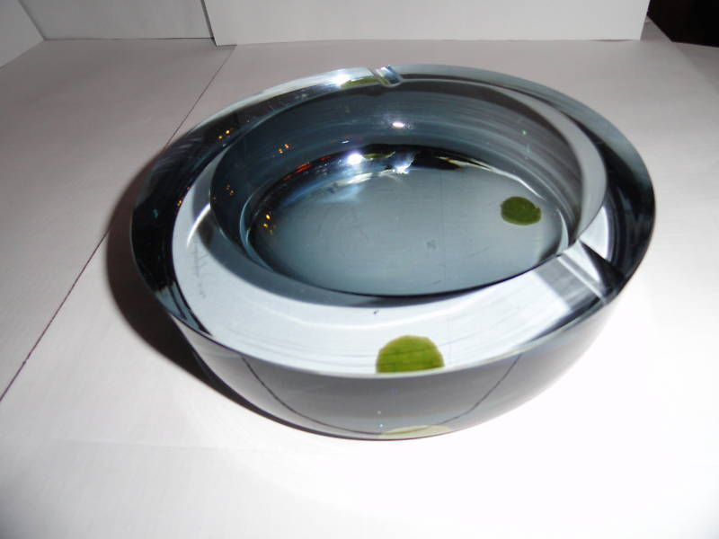 Details about   blue heavy glass  ashtray signed