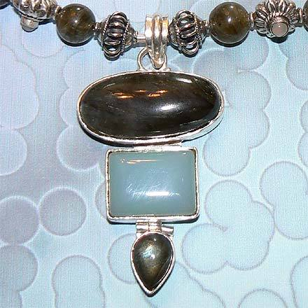 Sterling Silver Labradorite and Chalcedony Necklace
