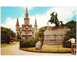Vintage chrome postcard st louis cathedral and jackson monument new orleans la thumb155 crop