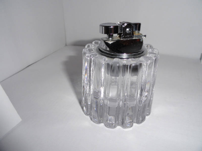 clear glass sprocket table top lighter