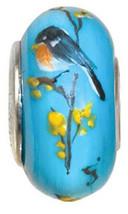 Fenton Art Glass Jewelry Bead Robin on Forsythi... - $45.00