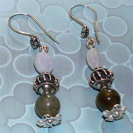 Sterling Silver Labradorite and Chalcedony Earrings