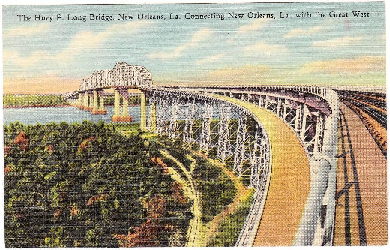 Vintage linen postcard huey p long bridge new orleans la