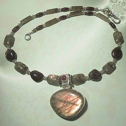 Sterling Silver Labradorite and Garnet Necklace