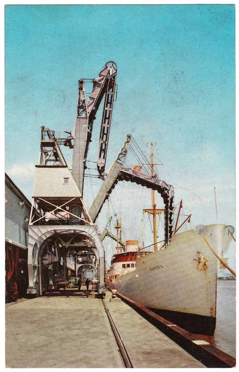 Vintage chrome postcard banana docks port of new orleans la