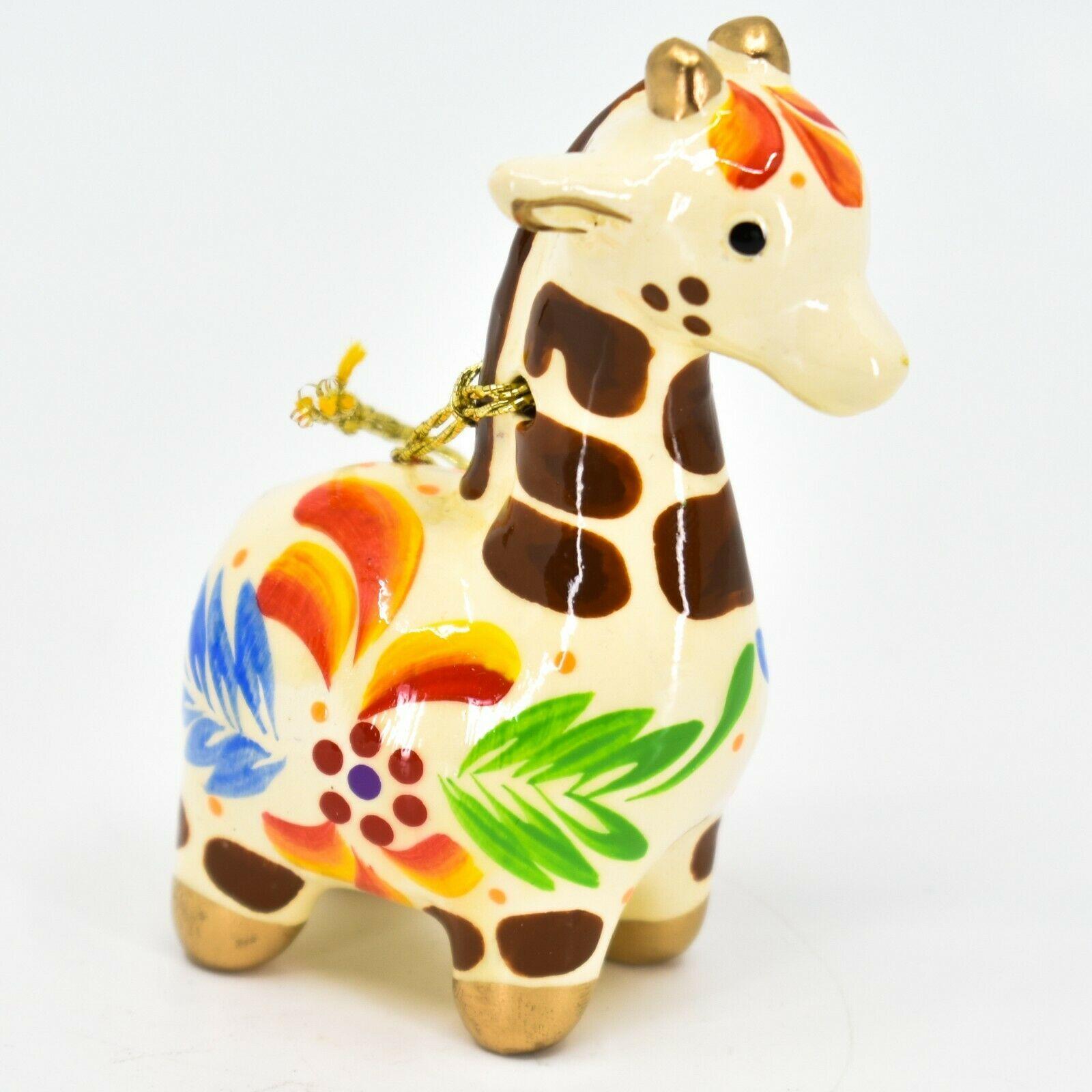 Handcrafted Painted Ceramic White Giraffe Confetti Ornament Made in Peru