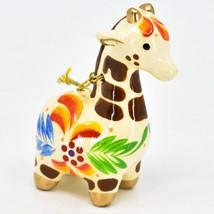Handcrafted Painted Ceramic White Giraffe Confetti Ornament Made in Peru image 1