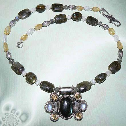 Sterling Silver Labradorite, Citrine and Moonstone Necklace