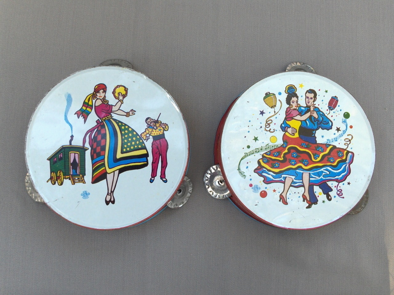 Vintage Pair US Metal Toy Litho Party Tambourines
