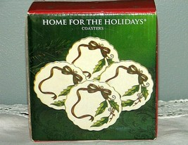 NEW Home for the Holidays Christmas Coasters Set of Four Holly Ribbon Po... - $15.95