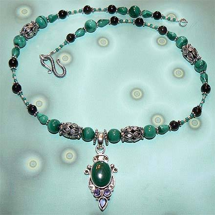Sterling Silver Malachite and Iolite Necklace