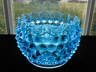 EAPG ANTIQUE BLUE HOBB'S HOBNAIL Finger/Waste Bowl