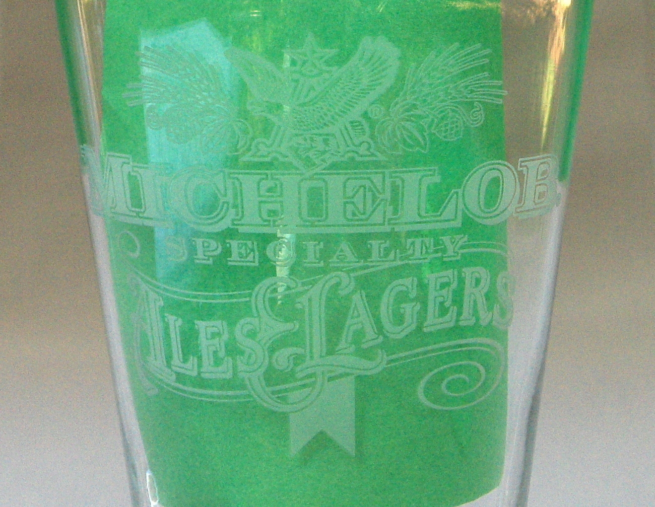 Etched Michelob Anheuser Ale Lager Beer Glass Tumblers Set 3