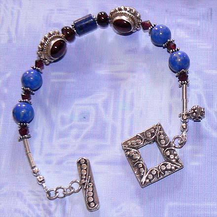 Sterling Silver Lapis and Garnet Bracelet