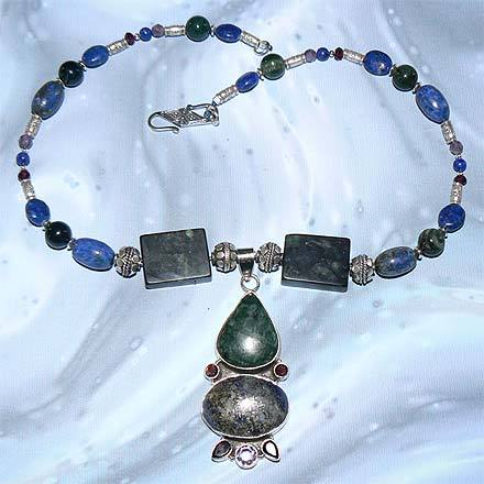 Silver Lapis, Jasper, Garnet and Amethyst Necklace