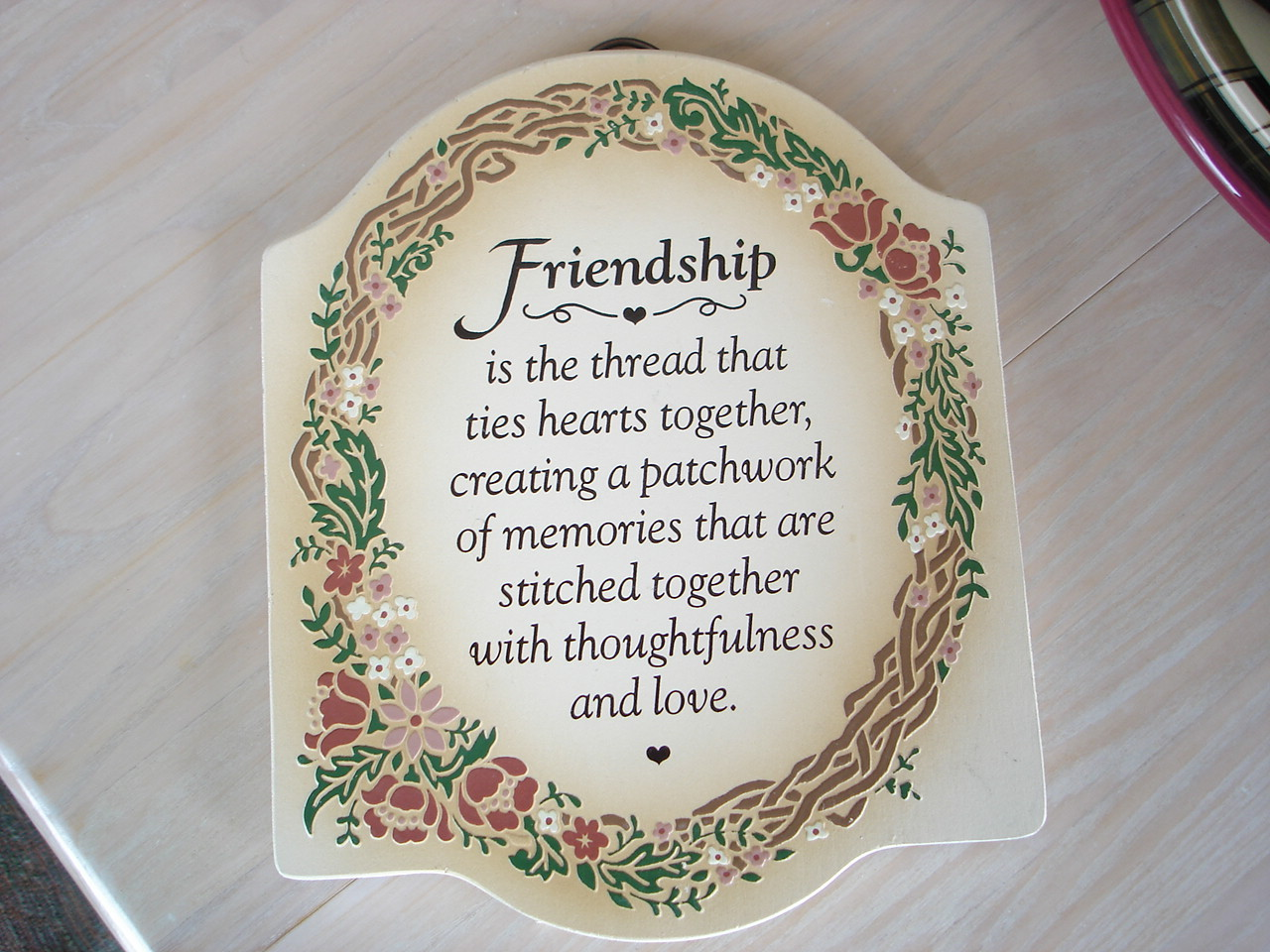 Friendship Poem Wall, Table Plaque, Painted
