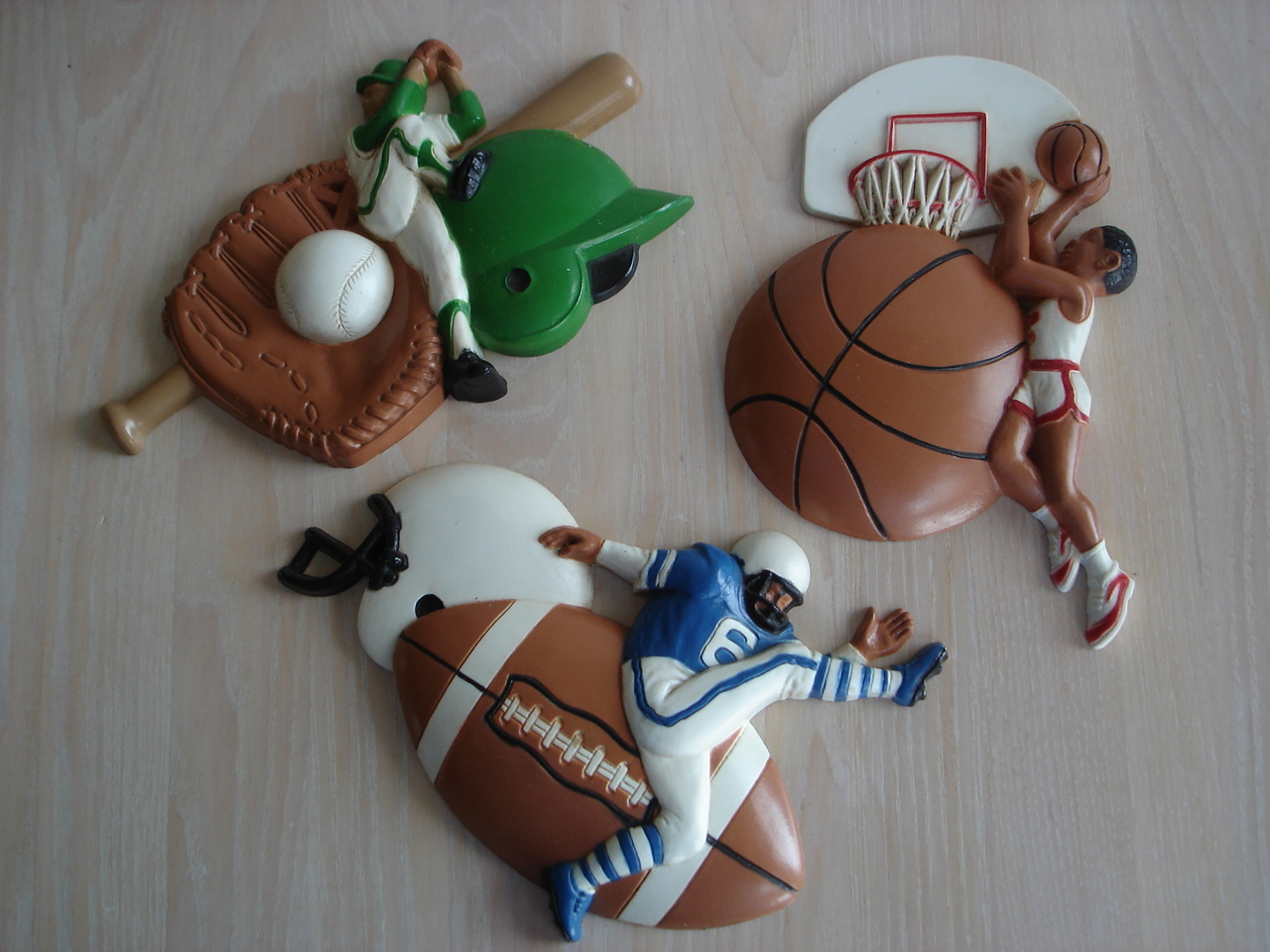Homco Baseball, Football, Basketball Wall Decor Plaques