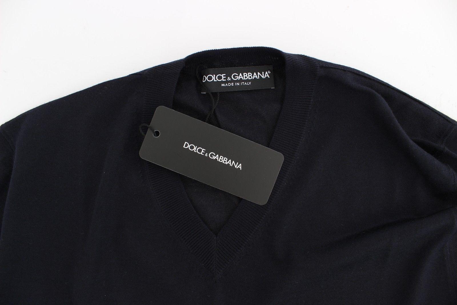 Dolce & Gabbana Blue Silk Cashmere V-neck Sweater Pullover 14925