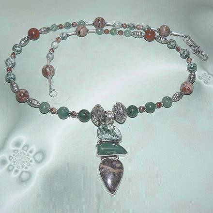 Brecciated Jasper, Tree Agate and Aventurine Necklace