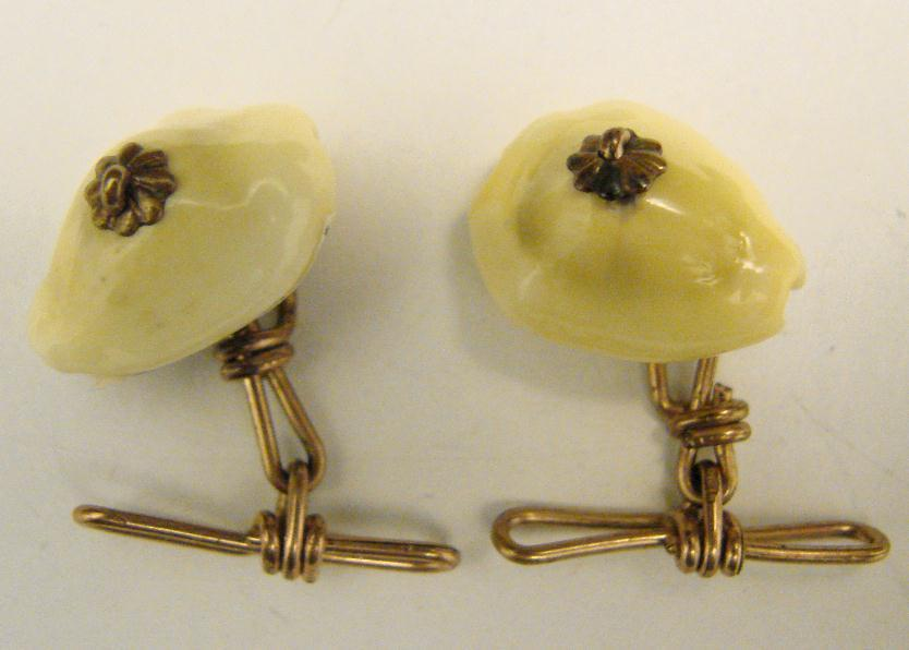 VICTORIAN CUFF LINKS - COWRIE SHELLS