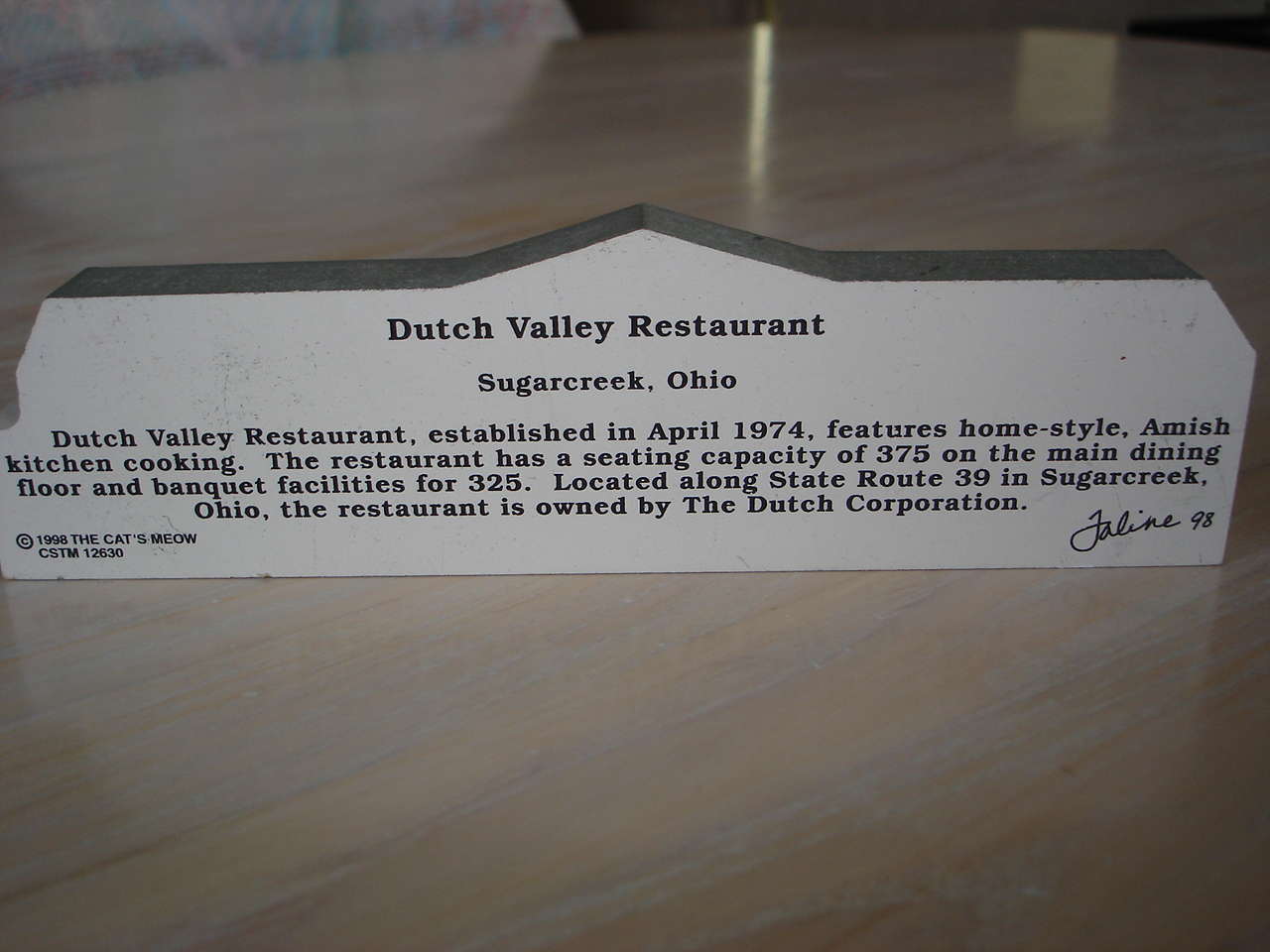 Cat's Meow Wooden Table Plaque, Dutch Valley Restaurant