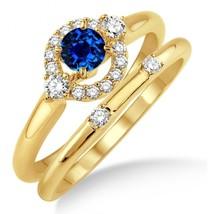 1.25 Carat Sapphire & Sim Diamond Elegant Halo Bridal Set on 14K Yellow Gold Fn  - $85.00