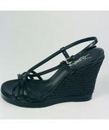YSL Yves Saint Laurent Cassandra Wedge Sandals Black Leather Size 36M - $217.79