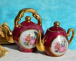 Vintage Porcelain Miniature Teapots Courting Couple Japan  - $29.95