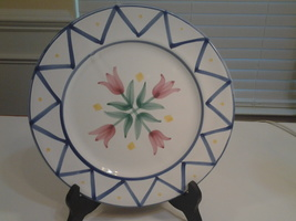 """Mesa International, White 9"""" Plate with flowers Handcrafted in Hungary, ... - $7.40"""
