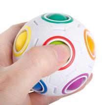 Magic Ball Rainbow Cube Football Fidget Toys 7cm Stress Puzzle Round Smo... - $9.49