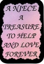"A Niece A Treasure To Help And Love Forever 3"" x 4"" Love Note Inspirational Sayi - $2.69"
