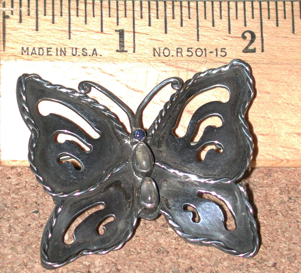 Arts Crafts Sterling silver vintage Pin Butterfly Moonstone Stones