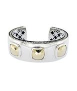 "David Yurman Sterling Silver 18k Gold Albion Cushions Cuff Bracelet 7"" »... - $1,390.35"