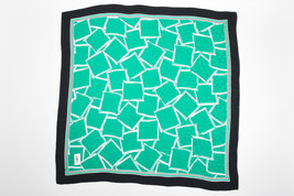 VINTAGE Yves Saint Laurent Green Black Printed Square Scarf - $63.01 CAD