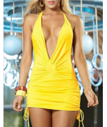 Women SexyLow Front  Mini Details Side Dress Yellow Slimming Fitted Party - $8.00