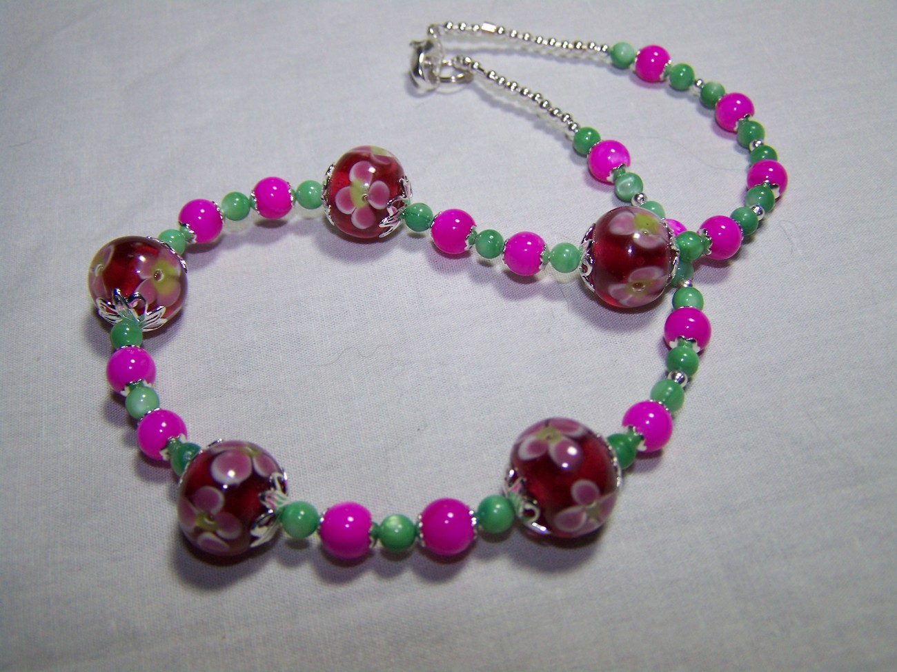 Pink green 15 1/4 inch flower lampwork and mop necklace