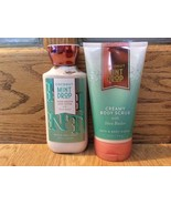 Set of 2 Bath & Body Works Coconut and Mint Drop Creamy Scrub 8 oz Lotio... - $30.06