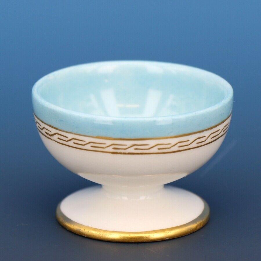 Vintage Open Salt Dip Cellar Footed Old Paris Porcelain French Blue