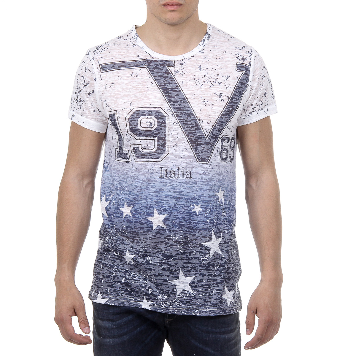 Primary image for V 1969 Italia Mens T-shirt Short Sleeves Round Neck Multicolor DAVID